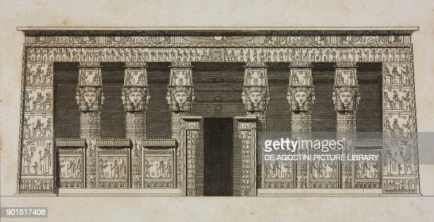 Facade of the Temple of Hathor Dendera Egypt engraving by Lemaitre from Egypte ancienne by Jacques Joseph ChampollionFigeac L'Univers pittoresque...