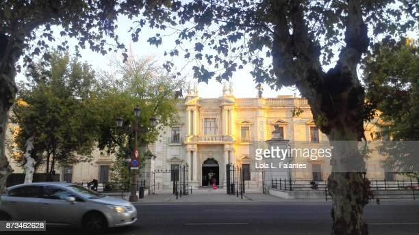 Facade of the University of Seville at dawn.