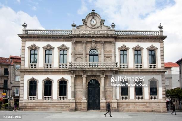 facade of town hall in pontevedra city, galicia, spain - provincia di pontevedra foto e immagini stock