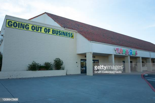 Facade of Toys R Us store in Dublin California with sign reading Going Out of Business following the toy retailer's bankruptcy July 23 2018