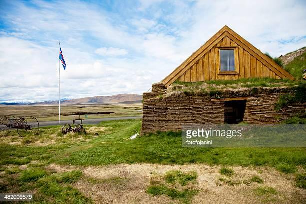 facciata di casa islandese erba - fotofojanini foto e immagini stock