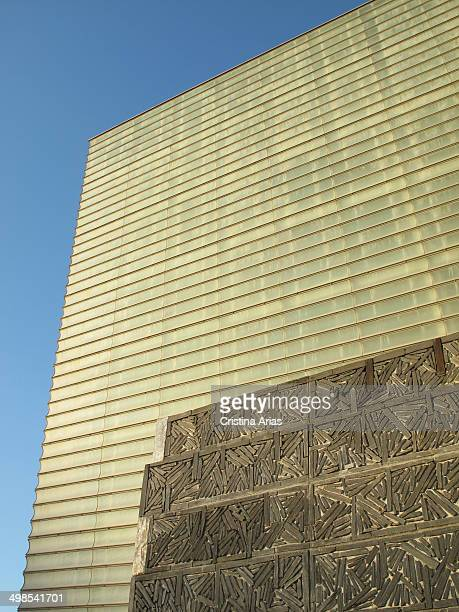 Facade on the evening of the Kursaal, the conference center and auditorium designed by the architect Rafael Moneo in 1999, San Sebastian , Guipuzcoa,...