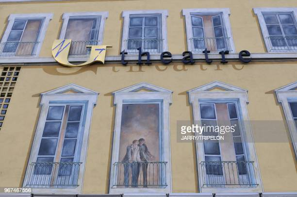 Facade painted in trompe l oeil of the Municipal theater of Grenoble town of Grenoble Isere department Rhone Alpes region France