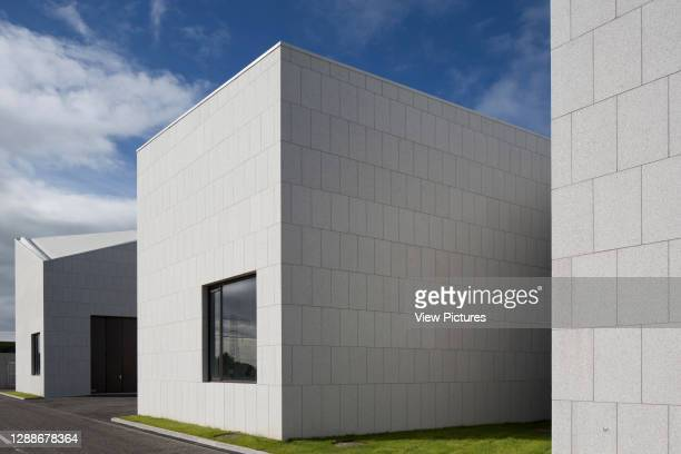 Facade perspectiove along workshop and tank halls. Beaufort Maritime and Energy Research Laboratory, Ringaskiddy, Ireland. Architect: McCullough...