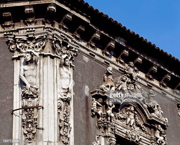 Facade Rococo decoration detail Palazzo Biscari Catania Sicily Italy 18th century