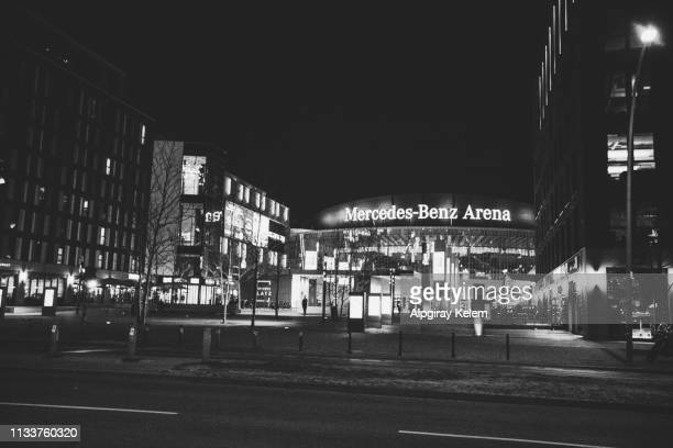 facade view of the mercedes benz arena entrance berlin, germany - mercedes benz arena berlin stock pictures, royalty-free photos & images
