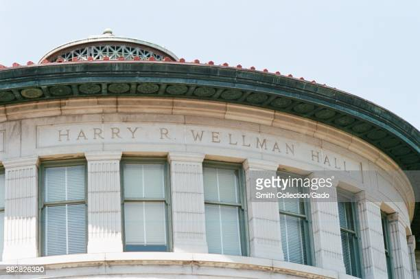 Facade with carved stone sign at Harry R Wellman hall on the campus of UC Berkeley in Berkeley California May 21 2018