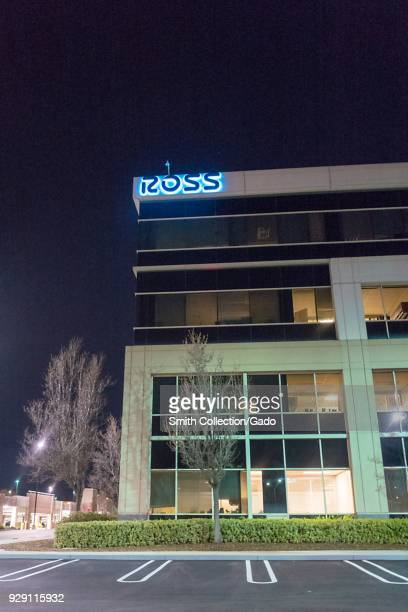 Facade with logo and sign at night at headquarters of Ross Stores in the San Francisco Bay Area, Dublin, California, March 5, 2018. Ross Stores...