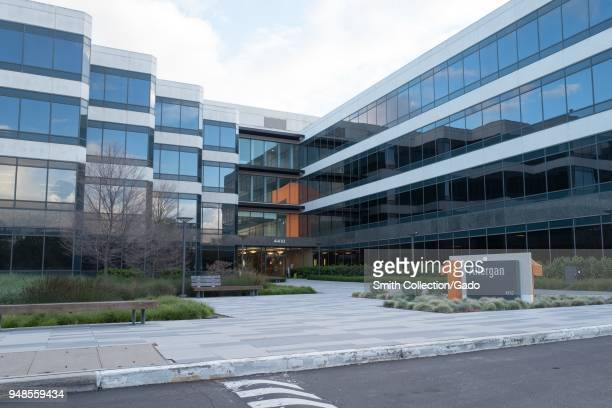 Facade with logo and sign at the regional headquarters of pharmaceutical company Allergan in Pleasanton California April 16 2018
