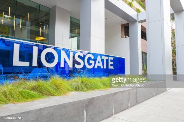 Facade with logo at headquarters of Lionsgate Films in the Silicon Beach area of Los Angeles, California, December 10, 2018.