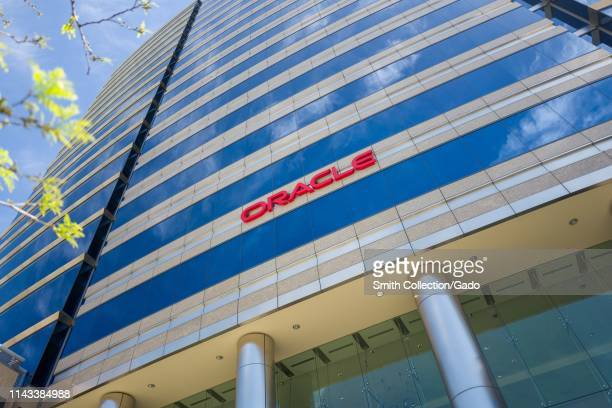Facade with logo at regional headquarters of software company Oracle in the Silicon Valley town of San Jose California April 13 2019