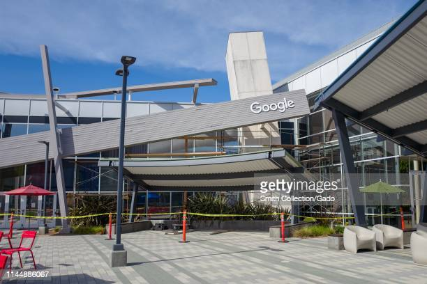 Facade with logo at the Googleplex, headquarters of Google Inc in the Silicon Valley, Mountain View, California, April 13, 2019.