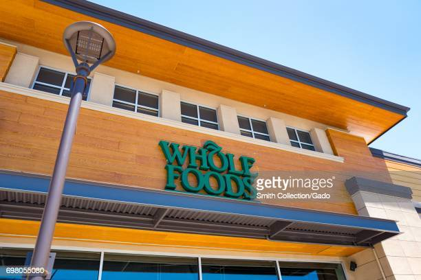 Facade with logo at the Whole Foods Market grocery store in Dublin California June 16 2017
