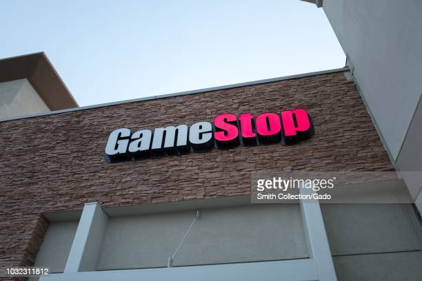 Facade with sign and logo at Game Stop video gaming store in Dublin California August 23 2018