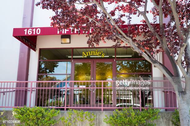 Facade with sign and logo at headquarters of Annie's Homegrown an organic food maker owned by General Mills in Berkeley California June 5 2018
