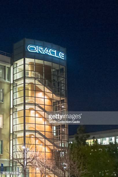 Facade with sign and logo at night at regional headquarters of technology company Oracle in the San Francisco Bay Area Dublin California March 5 2018
