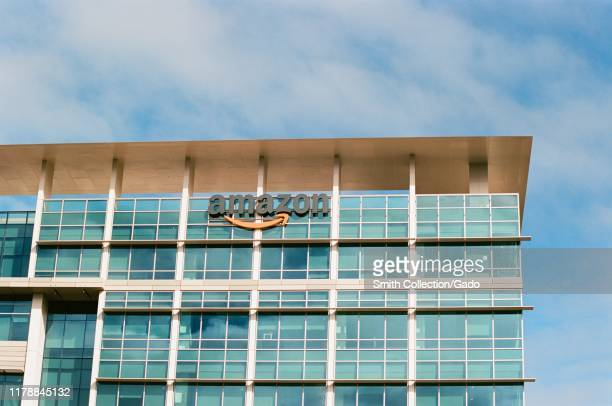 Facade with sign and logo at the Moffett Place office Amazon in the Silicon Valley, Mountain View, California, October 28, 2018.