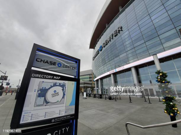 Facade with sign at Chase Center the new home of the Golden State Warriors NBA basketball team in the Mission Bay neighborhood of San Francisco...