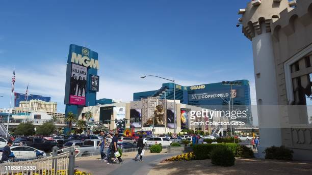 Facade with sign at the MGM Grand hotel in Las Vegas, Nevada, March 12, 2016.