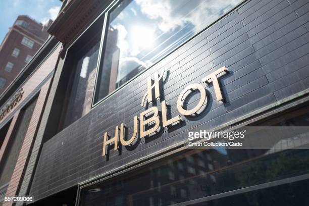 Facade with sign for the upscale boutique Hublot on Madison Avenue on the Upper East Side of Manhattan New York City New York September 15 2017