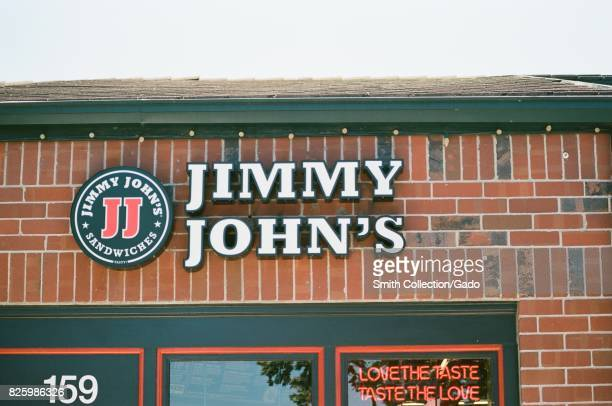 Facade with signage for the fast food restaurant Jimmy John's Sandwiches in San Ramon California June 28 2017