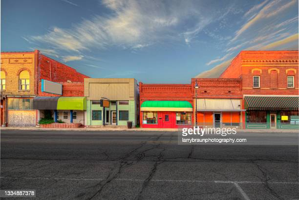 facades along division street - illinois stock pictures, royalty-free photos & images