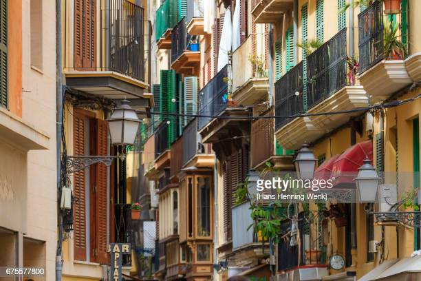 facades in palma de mallorca - palma majorca stock photos and pictures