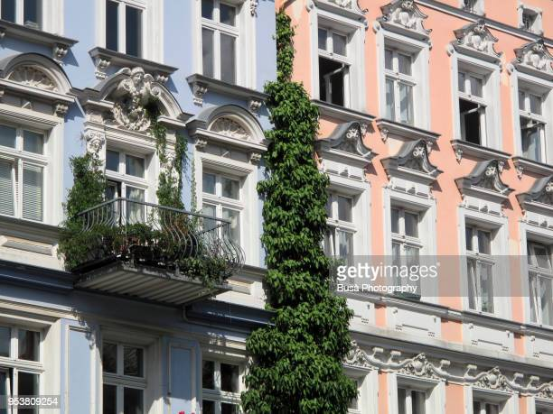 facades of beautifully renovated old buildings in the oderbergerstrasse in berlin (germany), district of prenzlauer berg - altbau fassade stock-fotos und bilder
