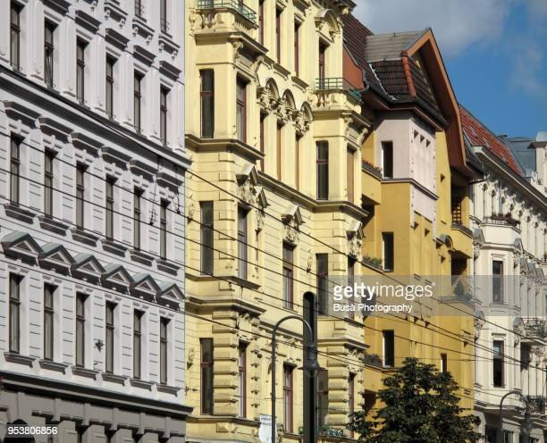 facades of beautifully renovated old buildings in the kastanienallee in berlin (germany), district of prenzlauer berg - プレンツラウアーベルグ ストックフォトと画像