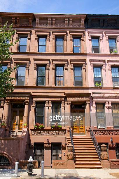 Facades of brownstones, Harlem, NYC