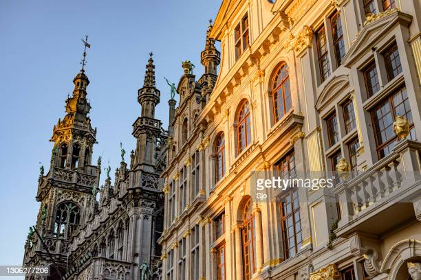 """facades of buildings at the grand place (grote markt) central square in brussels, belgium. - """"sjoerd van der wal"""" or """"sjo"""" stock pictures, royalty-free photos & images"""