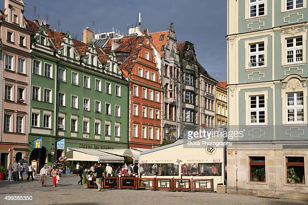 Facades of buildings in Market Square, Wroclaw (Poland)