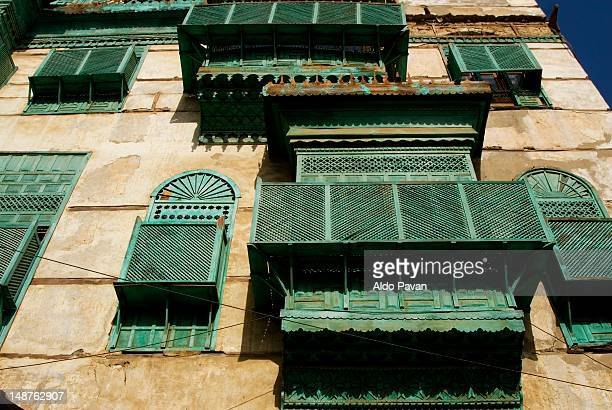 facades of old buildings in the old town. - jiddah stock pictures, royalty-free photos & images