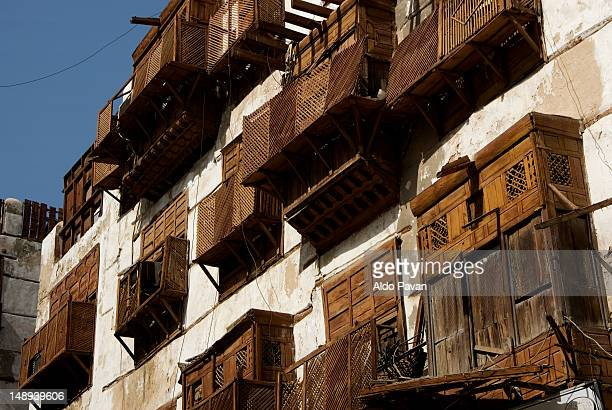facades of old buildings in the old town. - jeddah stock pictures, royalty-free photos & images