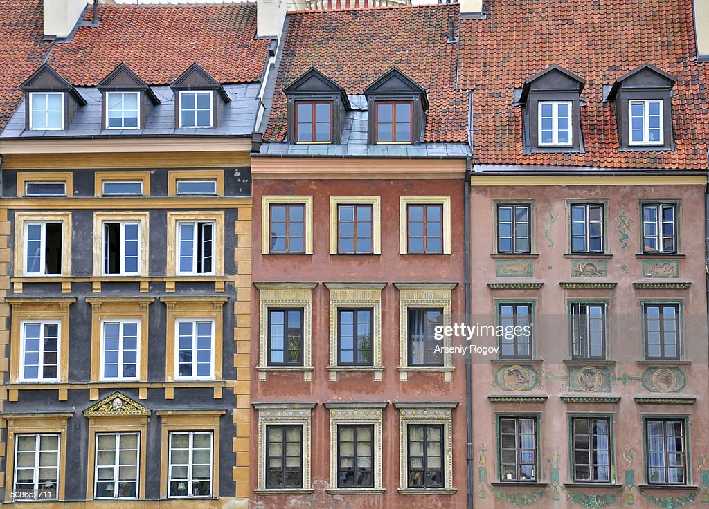 Facades of Warsaw houses : Stock Photo