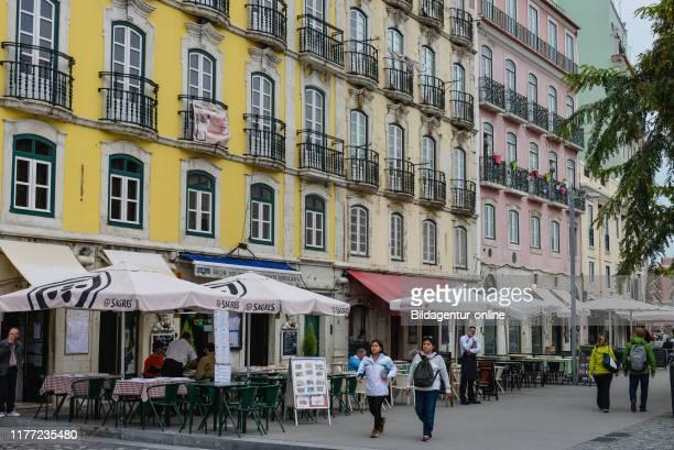Facades, Rua da alfa dega, Alfama, Lisbon, Portugal, Fassaden, Rua da Alfandega, Lissabon.