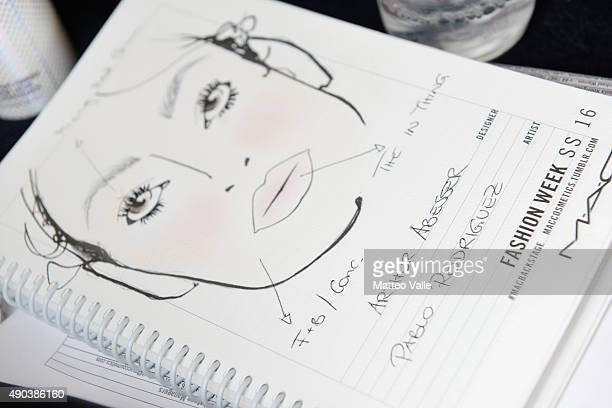 A face chart is seen backstage ahead of the Arthur Arbesser show during Milan Fashion Week Spring/Summer 2016 on September 28 2015 in Milan Italy