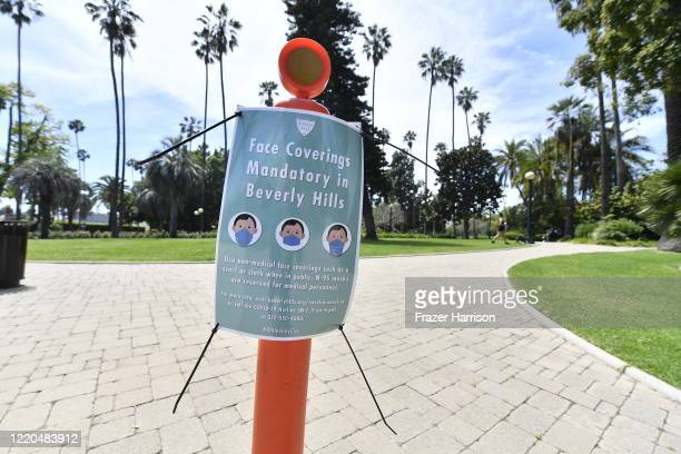 Face coverings mandatory sign at the Will Rogers Memorial Park Beverly Hills during the COVID19 lockdown on April 22 2020 in Beverly Hills California...