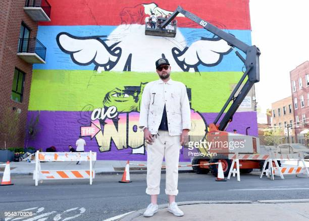 Face installs a permanent mural in Greenpoint, Brooklyn, commissioned by Kaspersky Lab, at The Greenpoint Terminal on May 3, 2018 in Brooklyn, New...