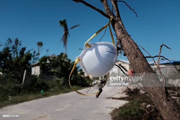 A face mask hangs in a tree on the nearly destroyed island of Barbuda on December 8 2017 in Cordington Barbuda Barbuda which covers only 62 square...