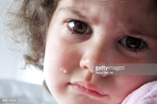 Face of a sad little girl with a tear on her cheek
