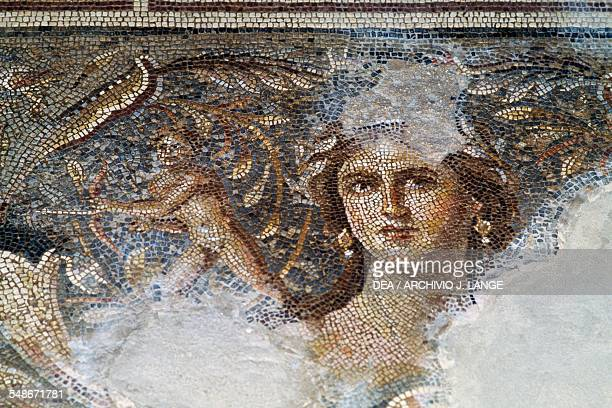 Face of a woman known as the Mona Lisa of the Galilee detail from the mosaic floor depicting scenes from the life of Dionysus from a Roman villa in...