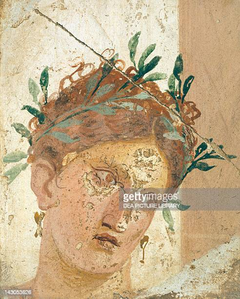 Face of a young girl painting on plaster 19x15 cm from Herculaneum Campania Roman Civilization 2010 BC Naples Museo Archeologico Nazionale