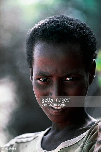 Face of a young Somali boy, Somalia.