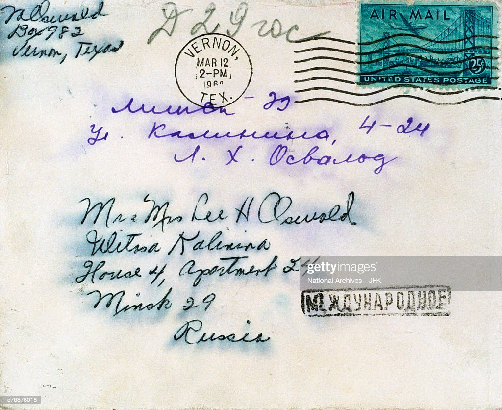 Face of an envelope addressed to Lee Harvey Oswald at his