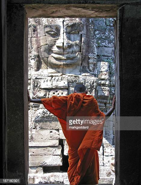 face of bayon - angkor wat stock pictures, royalty-free photos & images