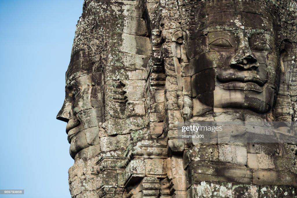 face  of Bhudha at Bayon temple : Stock-Foto