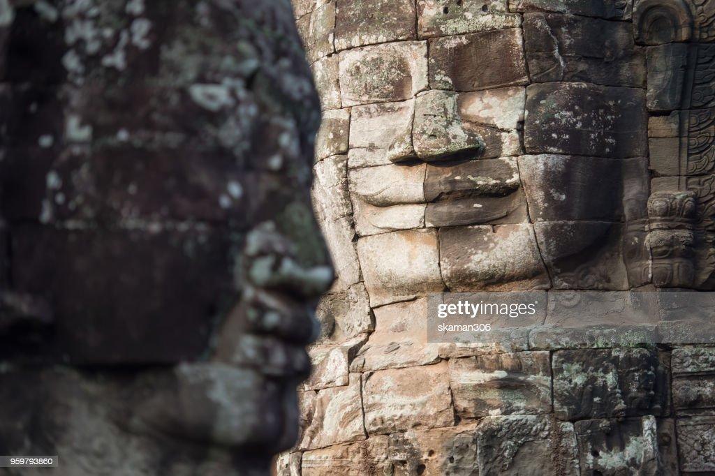 face  of Bhudha at Bayon temple : Stock Photo