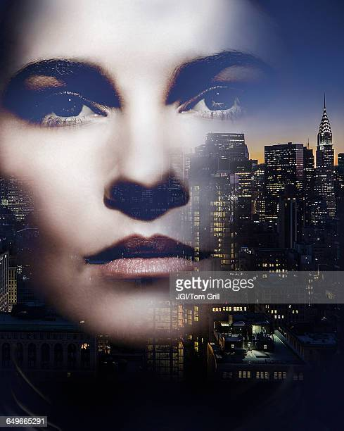 Face of Caucasian woman and New York cityscape, New York, United States