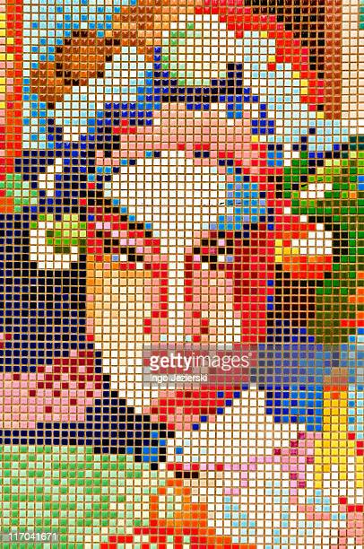 Face of Chinese Opera female character as mosaic m